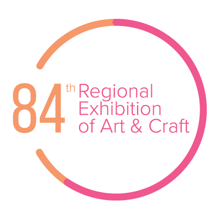 84th Regional Exhibition of Art & Craft Logo white background pink lettering
