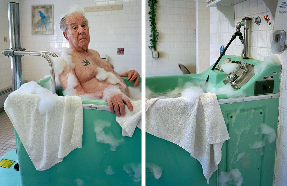 An old man in a bathtub