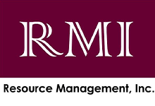 Resource Management, Inc. white lettering on maroon background